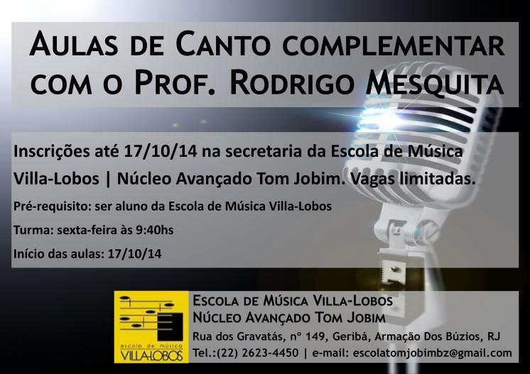 Folder Aulas de Canto Complementar - Rodrigo