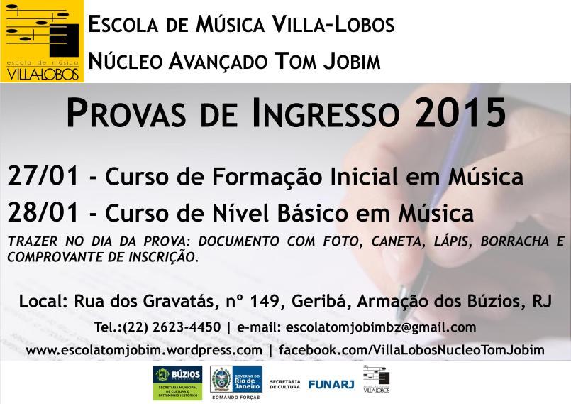 Folder - Provas de Ingresso 2015