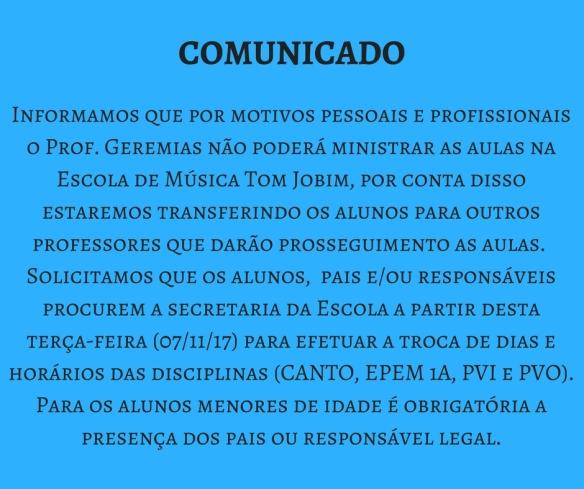 COMUNICADO - Geremias