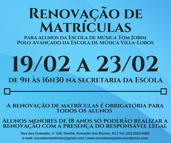 Renovação de Matrículas 2018