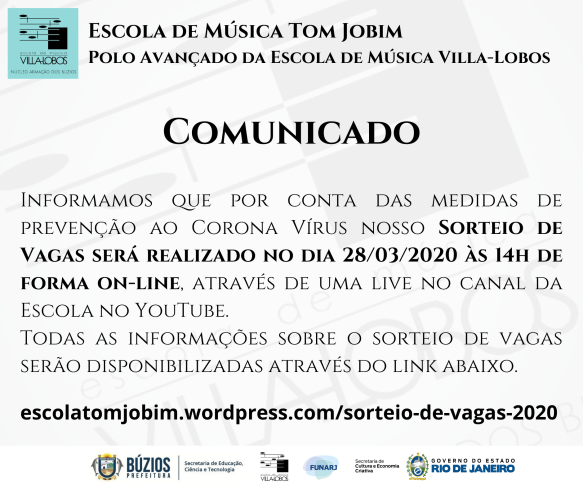 EMTJ - Comunicado Sorteio de Vagas